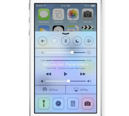 The new Control Center in iOS 7