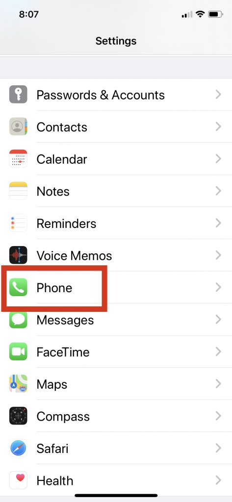 iPhone Phone Settings To Block Unknown Callers Step 1